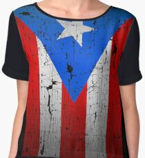 Flag of Puerto Rico - Old Printing Style Chiffon Top