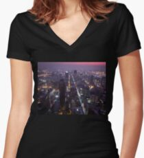 Johannesburg By Night Women's Fitted V-Neck T-Shirt