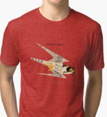 Peregrine Falcon diving caricature Tri-blend T-Shirt