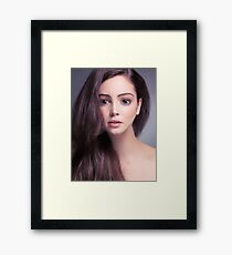 Young woman anime style beauty portrait with beautiful large gray eyes art photo print Framed Print