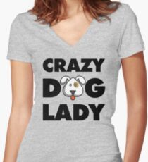 Crazy Dog Lady Women's Fitted V-Neck T-Shirt