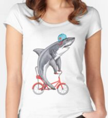 Cycling Shark  Women's Fitted Scoop T-Shirt