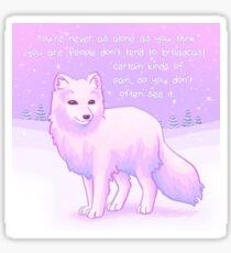 """You're Never Alone"" Arctic Fox Sticker"