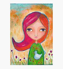 Caring: A Girl and a Bird Photographic Print