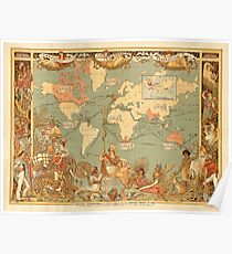 Map Of The British Empire 1886 Poster