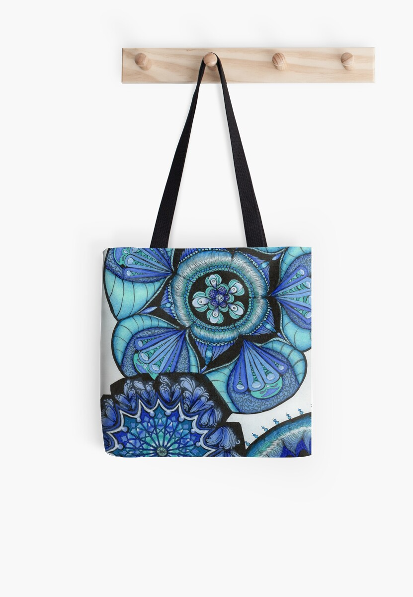 Floral Mandala in Blue by RonniBrown