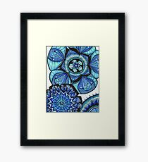 Floral Mandala in Blue Framed Print