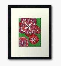 Floral Burst in Red Framed Print