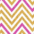 MODERN CHEVRON PATTERN bold bright pink + gold glitter white by Kat Massard
