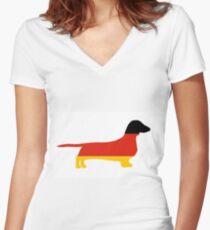 dachshund flag silhouette Women's Fitted V-Neck T-Shirt