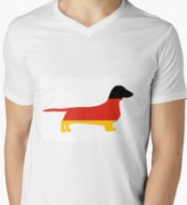 dachshund flag silhouette Mens V-Neck T-Shirt