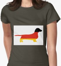 dachshund flag silhouette Womens Fitted T-Shirt