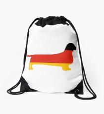 dachshund flag silhouette Drawstring Bag