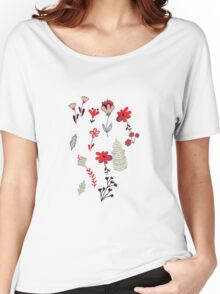 Red Vintage Floral Pattern Women's Relaxed Fit T-Shirt