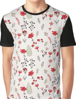 Red Vintage Floral Pattern Graphic T-Shirt