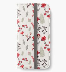 Red Vintage Floral Pattern iPhone Wallet/Case/Skin
