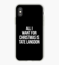 All I Want For Christmas is Tate Langdon-- White iPhone Case