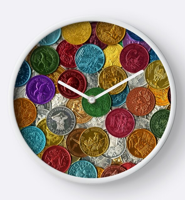 Studio Dalio - Colorful Mardi Gras Doubloons Clock
