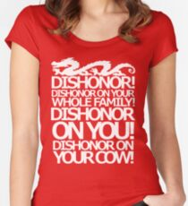 Dishonor on your cow. [US Spelling]  Women's Fitted Scoop T-Shirt