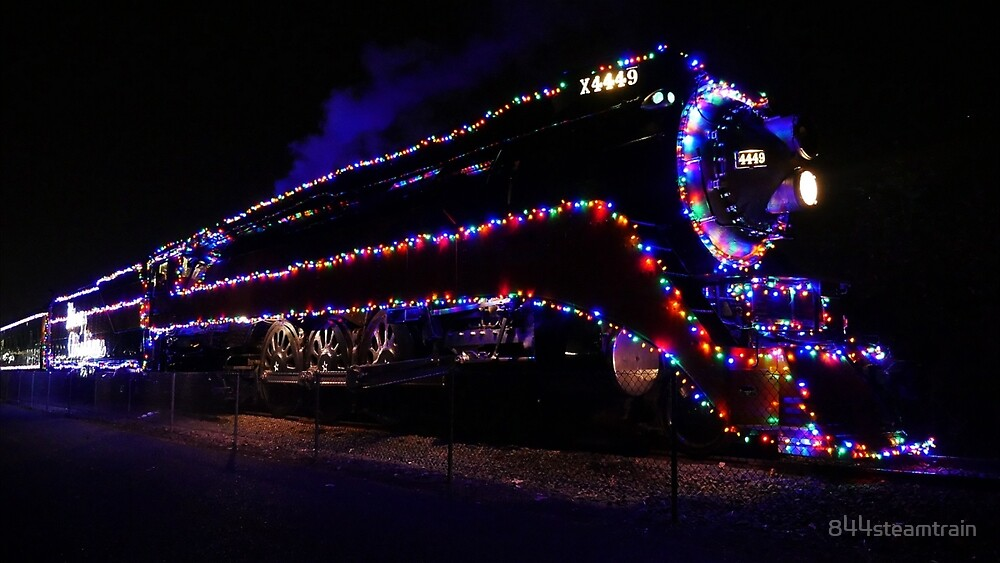 sp 4449 steam train with christmas lights by 844steamtrain - Christmas Light Train
