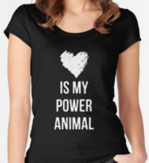 Love is my Power Animal Fitted Scoop T-Shirt