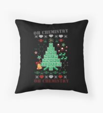 Oh Chemistree Chemistry Funny Ugly Christmas Sweater Throw Pillow