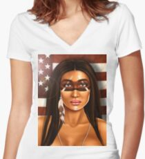 Native Woman Women's Fitted V-Neck T-Shirt