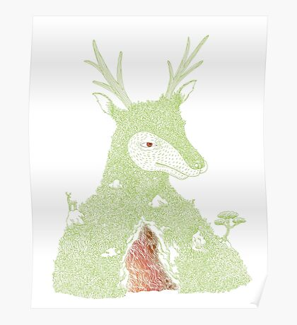 Stag at the Heart of the Mountain Poster