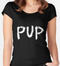 PUP Graffiti Logo White Women's Fitted Scoop T-Shirt