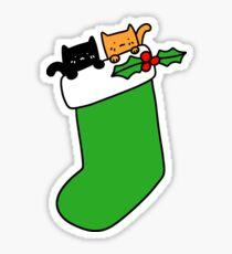 Black and Orange Stocking Kittens Sticker
