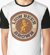 Lion Brown Beer Coaster Graphic T-Shirt
