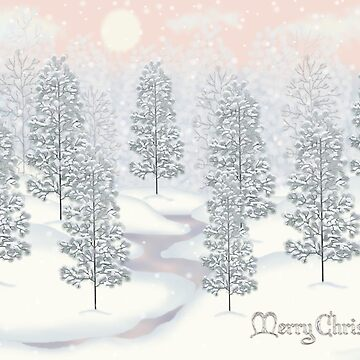 Snowy Day Winter Scene Merry Christmas by Lallinda