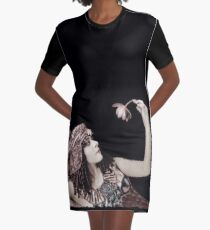 Theda Bara Cleopatra with Flower Graphic T-Shirt Dress