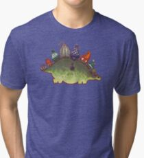 Green Stegosaurus Derposaur with Hats Tri-blend T-Shirt