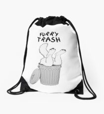 Furry Trash - White/Arctic Wolf Drawstring Bag