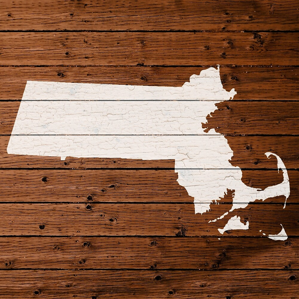 Map Of Massachusetts State Outline White Distressed Paint On Reclaimed Wood  Planks. - Map Of Massachusetts State Outline White Distressed Paint On