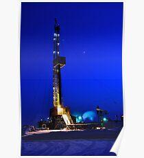 Drilling Rig at Night Poster
