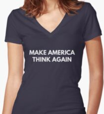 Make America Think Again Women's Fitted V-Neck T-Shirt