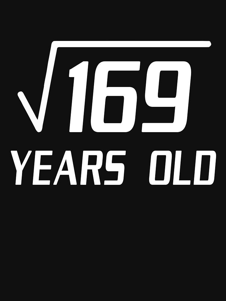 Raíz cuadrada de 169 13 años de edad 13 cumpleaños camiseta de marsbees