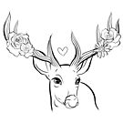 Flower deer by ria-draws