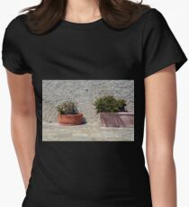 Cacti in flower pots Womens Fitted T-Shirt