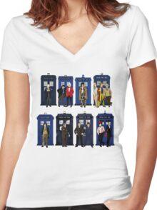 Doctor Who - Doctors & Tardises Women's Fitted V-Neck T-Shirt