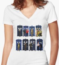 Doctor Who - Doctors & Tardises Women's Fitted V-Neck T-Shirt
