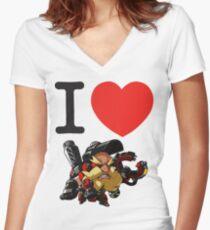 I Heart Torbjorn Cute Spray Women's Fitted V-Neck T-Shirt
