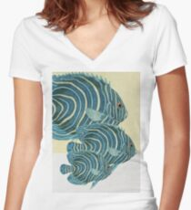 Fish Classic Designs 9 Women's Fitted V-Neck T-Shirt
