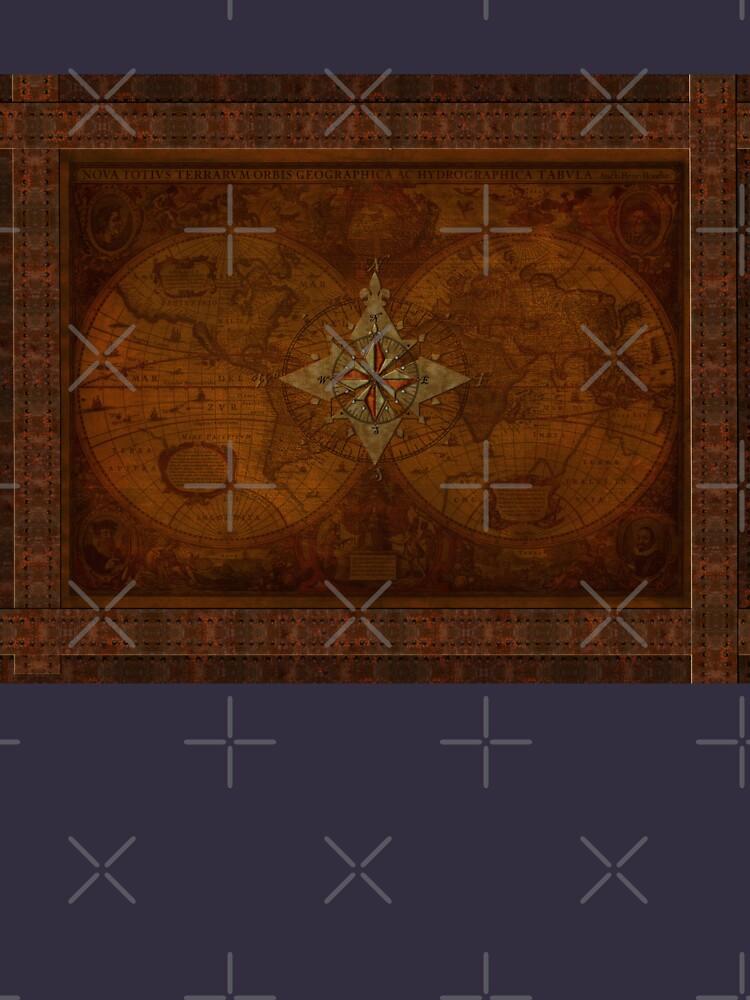 Steampunk Kompass Rose & antike Karte von RavenPrints