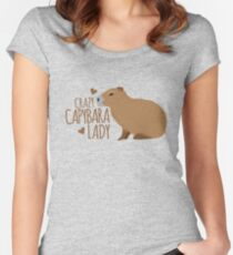 Crazy Capybara lady Women's Fitted Scoop T-Shirt