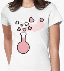 Pink Love Magic Potion in a Laboratory Flask Womens Fitted T-Shirt