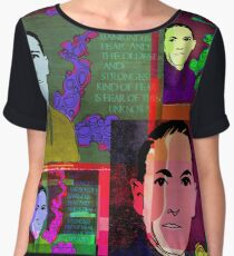 HP LOVECRAFT, AMERICAN GOTHIC WRITER, COLLAGE Women's Chiffon Top
