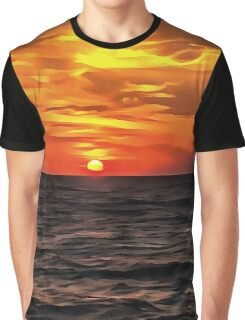Sunset Over The Mediterranean Sea Graphic T-Shirt